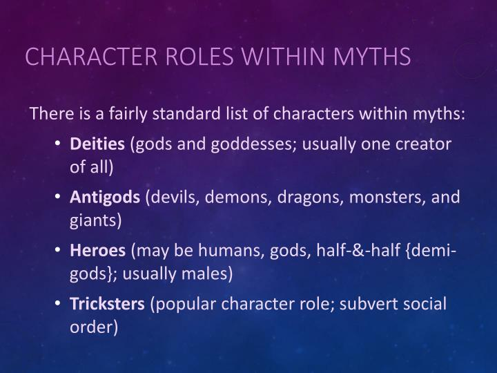 Character Roles within Myths