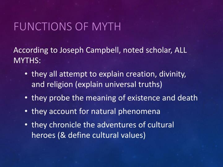 Functions of Myth