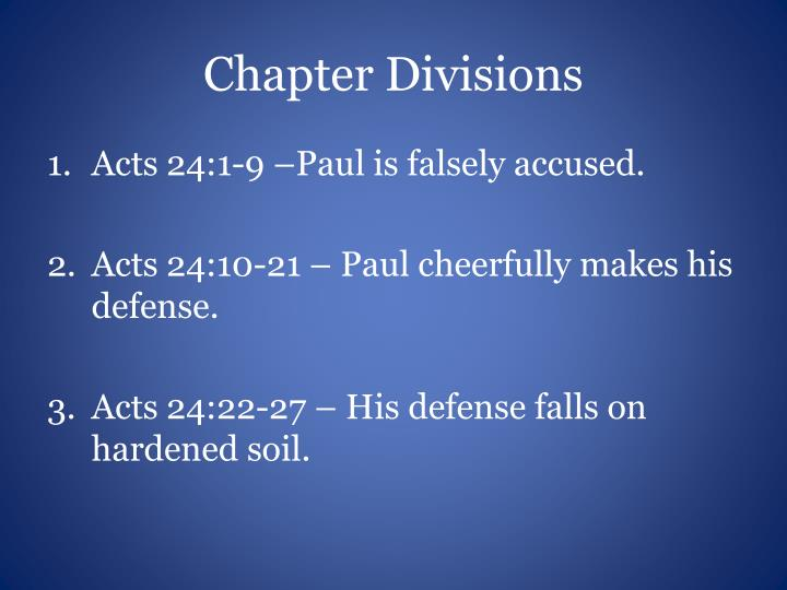Chapter Divisions