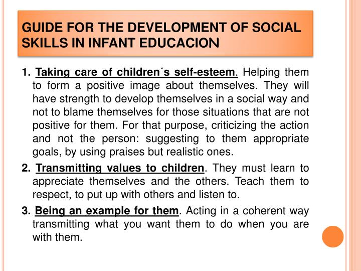 GUIDE FOR THE DEVELOPMENT OF SOCIAL SKILLS IN INFANT EDUCACIO
