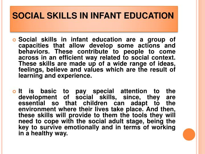 Social skills in infant education
