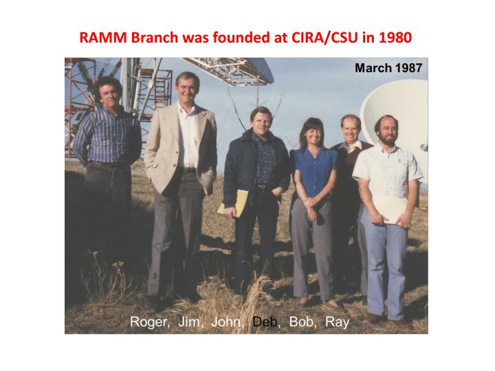 RAMM Branch was founded at CIRA/CSU in 1980