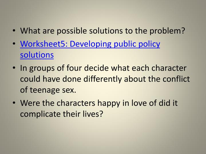 What are possible solutions to the problem?