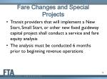 fare changes and special projects