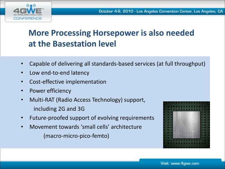 More Processing Horsepower is also needed