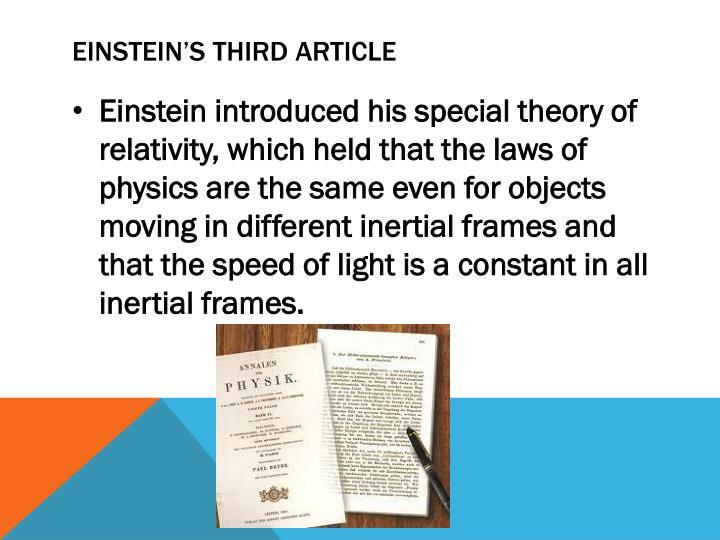 Einstein's Third Article
