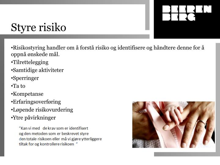 Styre risiko