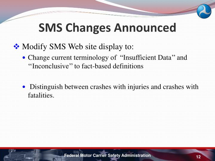 SMS Changes