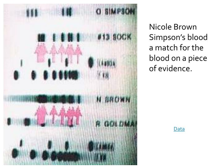 Nicole Brown Simpson's blood a match for the blood on a piece of evidence.