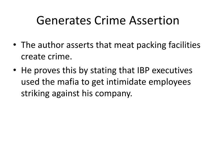 Generates crime assertion