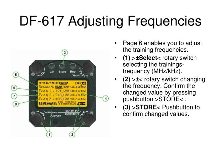 DF-617 Adjusting Frequencies