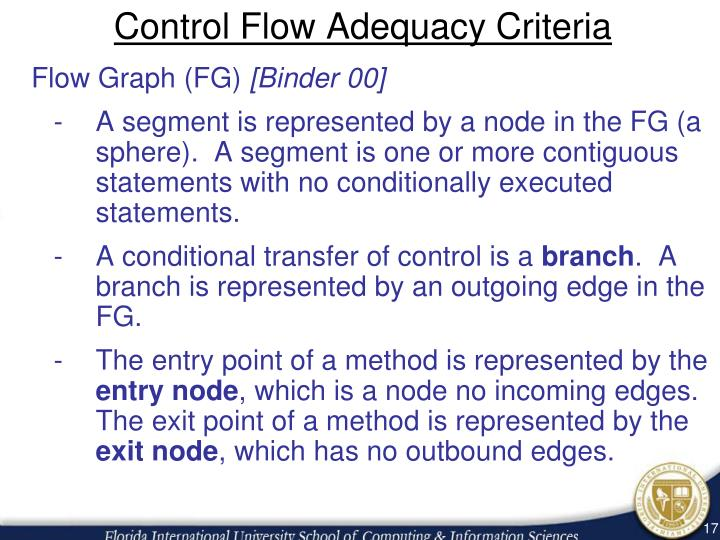 Control Flow Adequacy Criteria