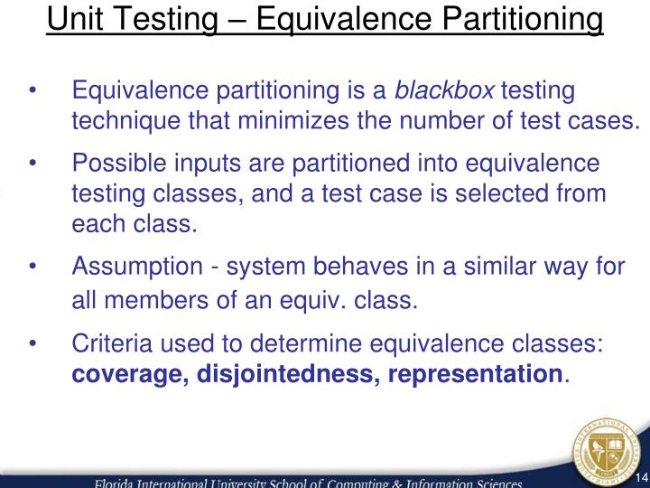 Unit Testing – Equivalence Partitioning