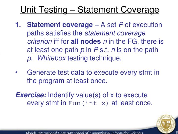 Unit Testing – Statement Coverage