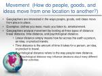 movement h ow do people goods and ideas move from one location to another