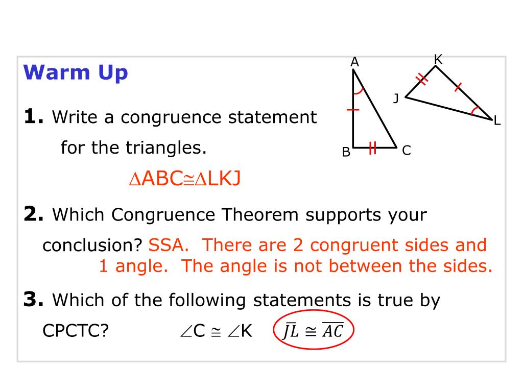 Ppt Warm Up 1 Write A Congruence Statement For The Triangles Powerpoint Presentation Id 2797150