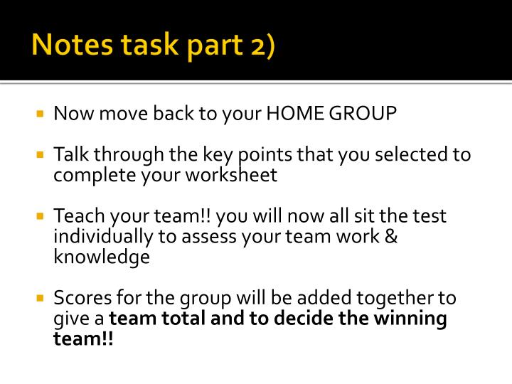 Notes task part 2)