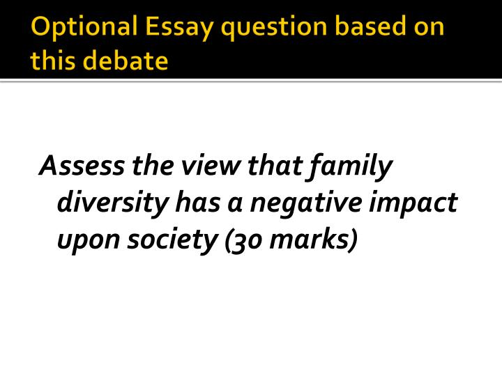 Optional Essay question based on this debate