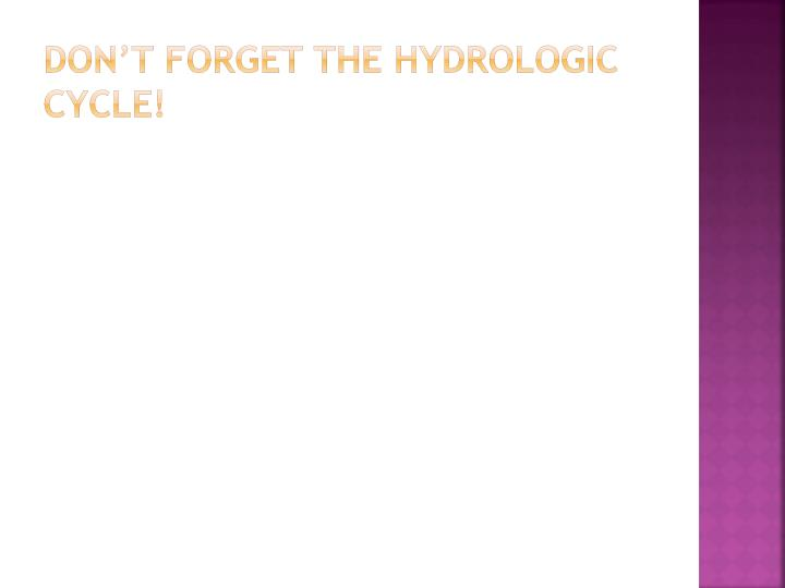 don't forget the hydrologic cycle!