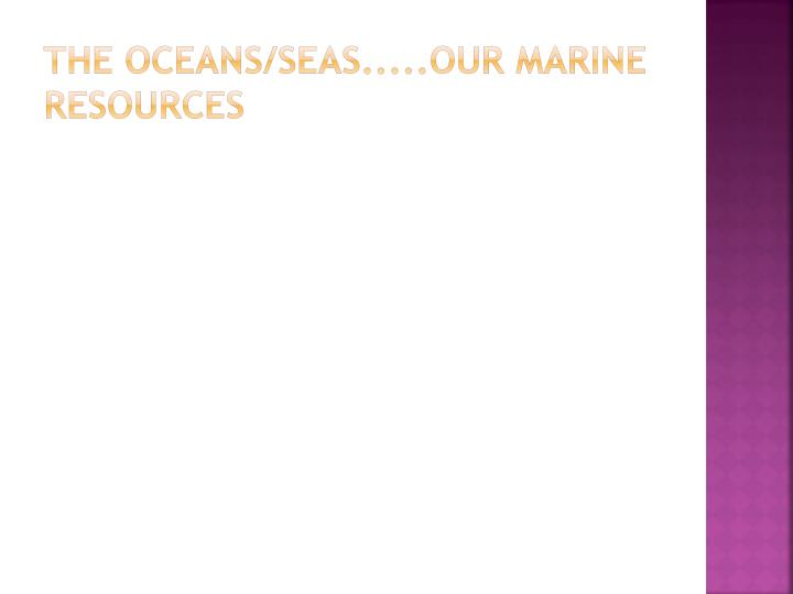 the oceans/seas.....our marine resources