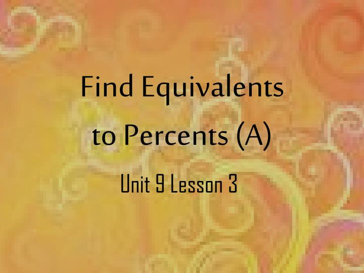 Find equivalents to percents a