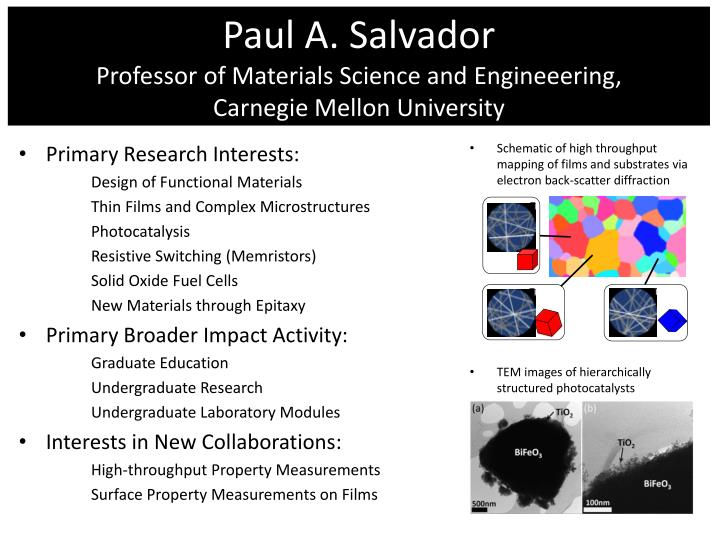 paul a salvador professor of materials science and engineeering carnegie mellon university n.