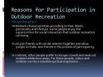 reasons for participation in outdoor recreation3