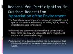 reasons for participation in outdoor recreation4