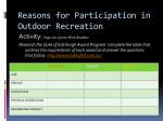 reasons for participation in outdoor recreation8