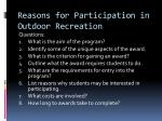 reasons for participation in outdoor recreation9