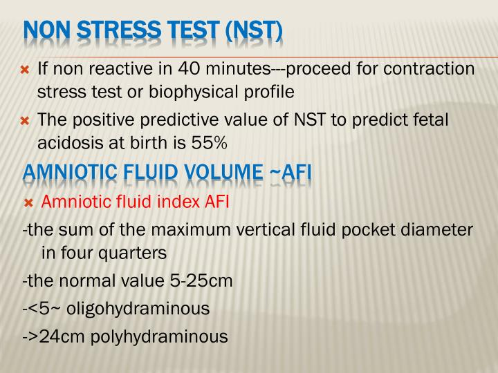 If non reactive in 40 minutes---proceed for contraction stress test or biophysical profile