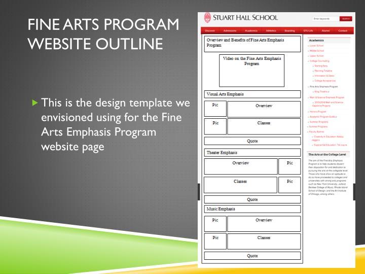 Fine arts program website outline