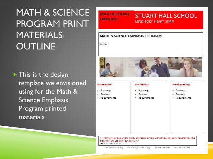 Math & Science program print materials outline