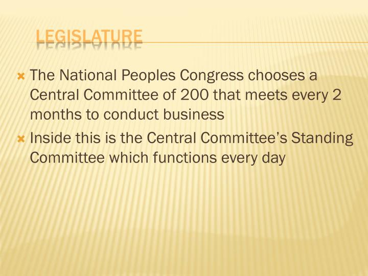 The National Peoples Congress chooses a Central Committee of 200 that meets every 2 months to conduct business