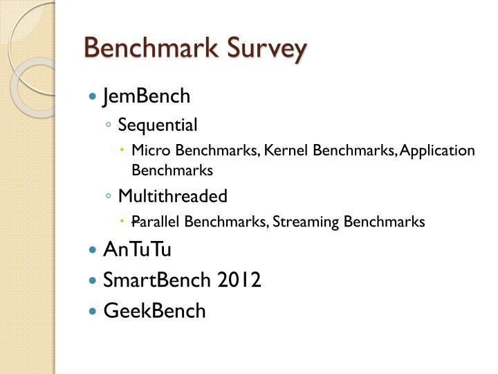Benchmark survey
