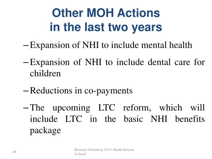 Other MOH Actions