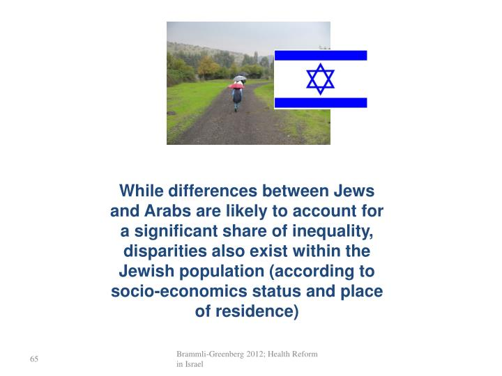 While differences between Jews and Arabs are likely to account for a significant share of inequality, disparities also exist within the Jewish population (according to socio-economics status and place of residence)