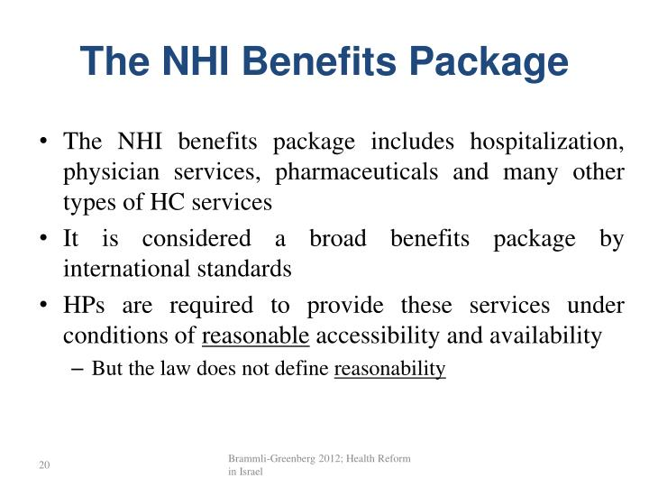 The NHI Benefits Package