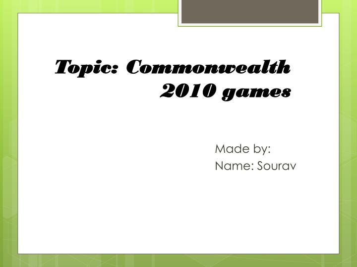 topic commonwealth 2010 games n.