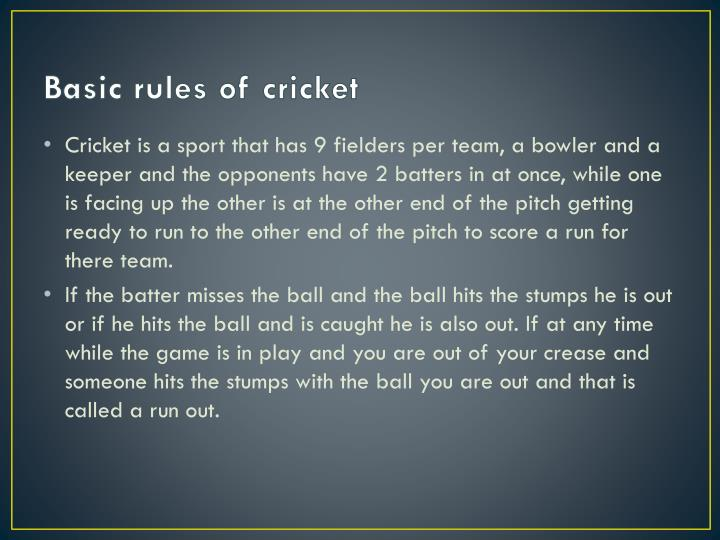 Basic rules of cricket