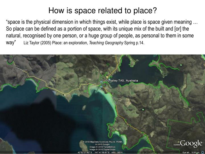 How is space related to place?