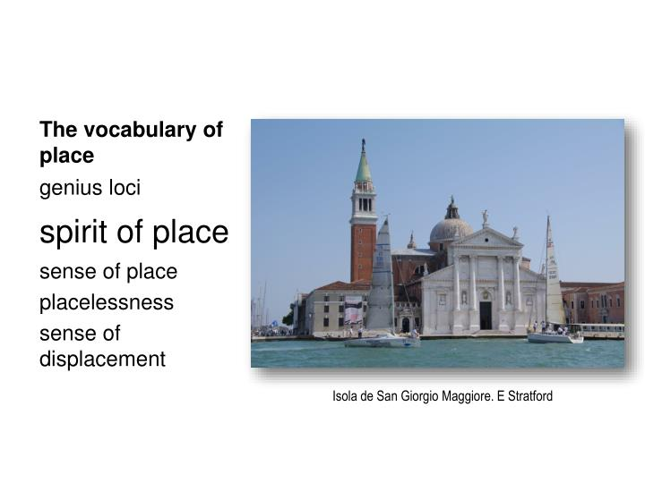 The vocabulary of place