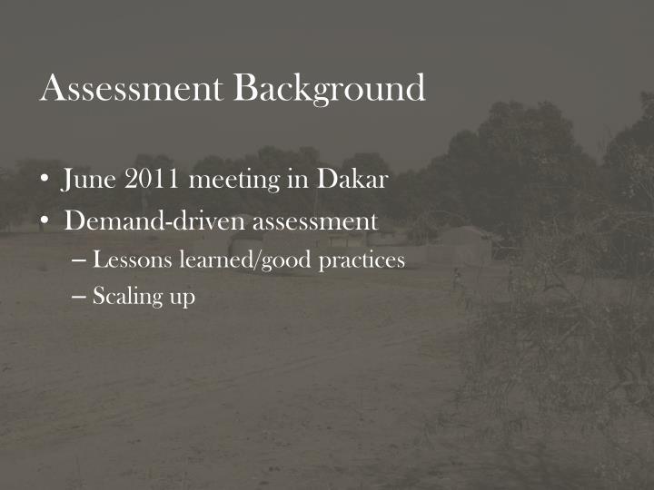 Assessment background