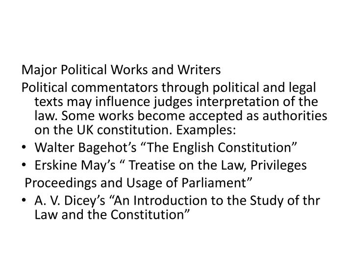 Major Political Works and Writers