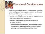 educational considerations