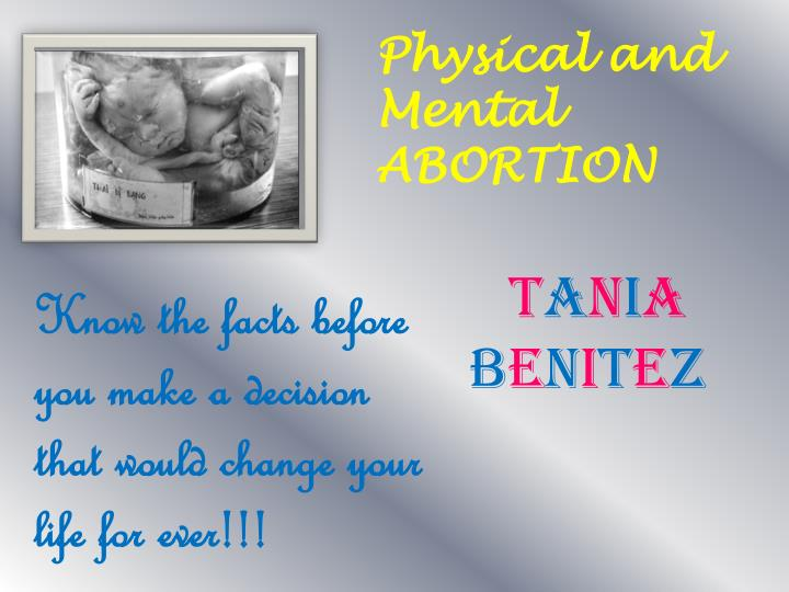 physical effects of abortion essay The physical side effects after an abortion can vary from woman to woman learn more about the possible physical side effects following an abortion.