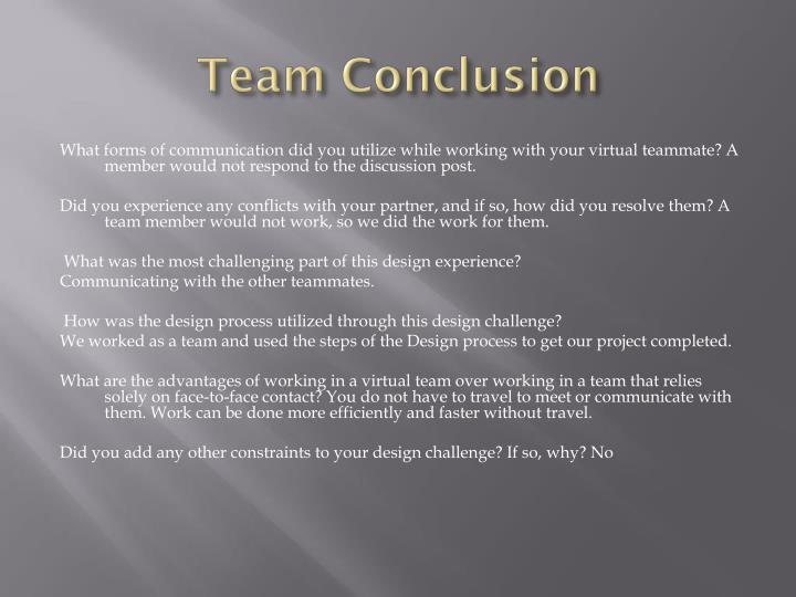 Team Conclusion