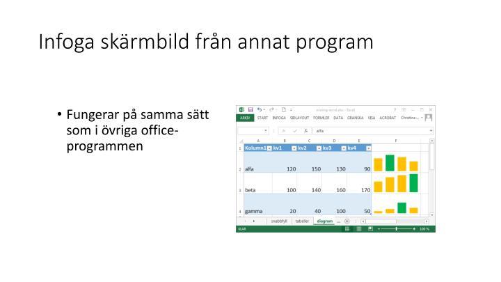 Infoga skärmbild från annat program