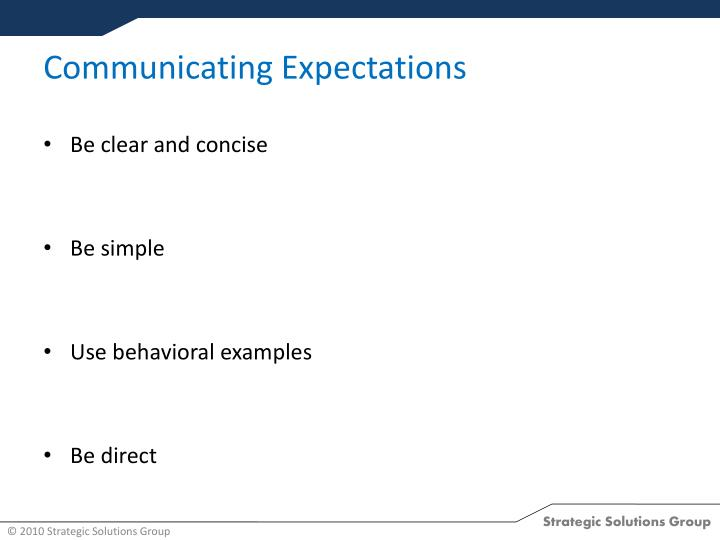 Communicating Expectations