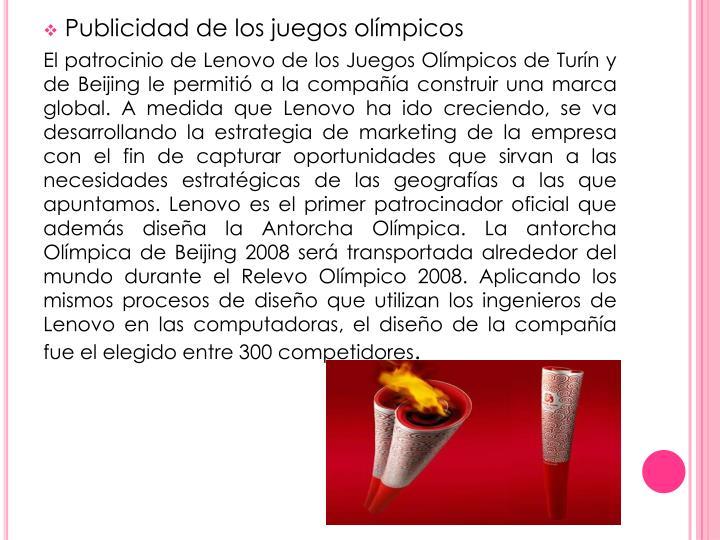 Publicidad de los juegos olímpicos